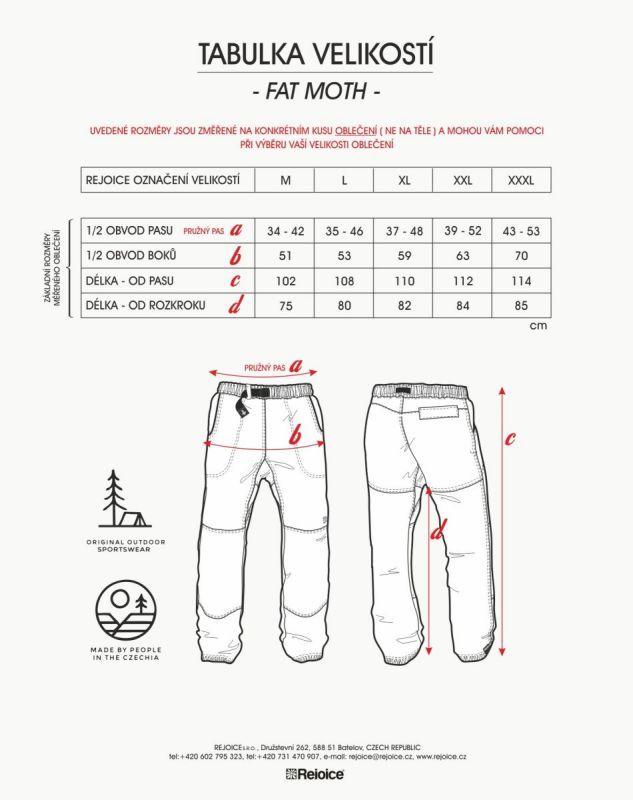Rejoice kalhoty FAT MOTH unisex 12/239