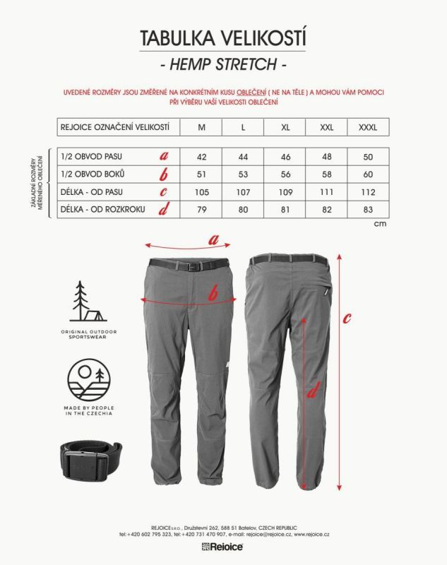 Rejoice kalhoty HEMP unisex stretch 176/55