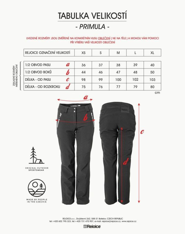 Rejoice softshelové kalhoty PRIMULA dámské 232